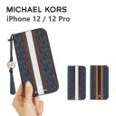 MICHAEL KORS iPhone12 iPhone12Pro 手帳型ケース ストラップ カード収納 3枚 Folio Case Stri……