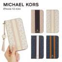 MICHAEL KORS iPhone12mini 手帳型ケース ストラップ カード収納 3枚 Folio Case Stripe with ……