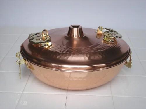 家庭用に手ごろなアイテム、打ち出し模様がキレイ♪純銅製 しゃぶしゃぶ鍋 輝煌 26cm