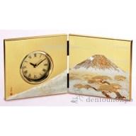 屏風時計 白富士 金 ( 名入れ可 置時計 置き時計 アクセ