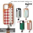 《即納》【12proMax対応】エジュー ajew 通販 ajew cadenas check leather zipphone case ひも……