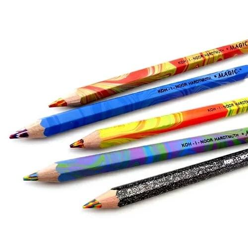 【メール便可】 コヒノール マジックペンシル ゴシックペン 太軸3色ペン 5色セット KOH-I-NOOR/HARDTMUTH/MAGIC/コヒノール/色鉛筆/色えんぴつ/マーブル色鉛筆/5本セット