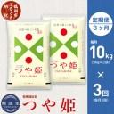 【ふるさと納税】【定期便・3ヶ月】無洗米 つや姫 10kg(