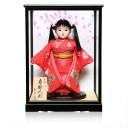 【市松人形】8号市松人形:綸子桜花弁衣裳ケース付【カール】:敏光作【ひな人形】【浮世人形】