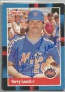 【送料無料】スポーツ メモリアル カード ニューヨークメッツterry leach1988donrussサイン york mets terry leach autographed 198..