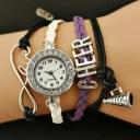 【送料無料】腕時計 チアリーディングブレスレットペンダントdiy cheerleading woven bracelet pendant quartz watch purple cheer