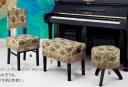 【its】ピアノ椅子カバー(背もたれ椅子用)アルプスG68-CK「イタリア製ゴブランを使った花柄」(アルプスG68シリーズ)