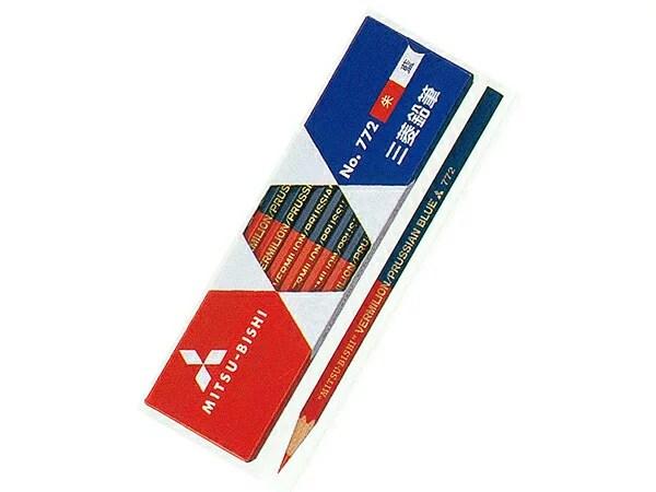 三菱鉛筆朱藍(5:5)鉛筆(赤青・六角軸) 1ダース