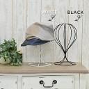 帽子スタンド ウィッグスタンド アイアン[おしゃれ かわいい アンティーク ワイヤー 帽子 キャップ ハット 収納 帽子掛け スタンド フレンチ シャビー ブラック ホワイト かつら]