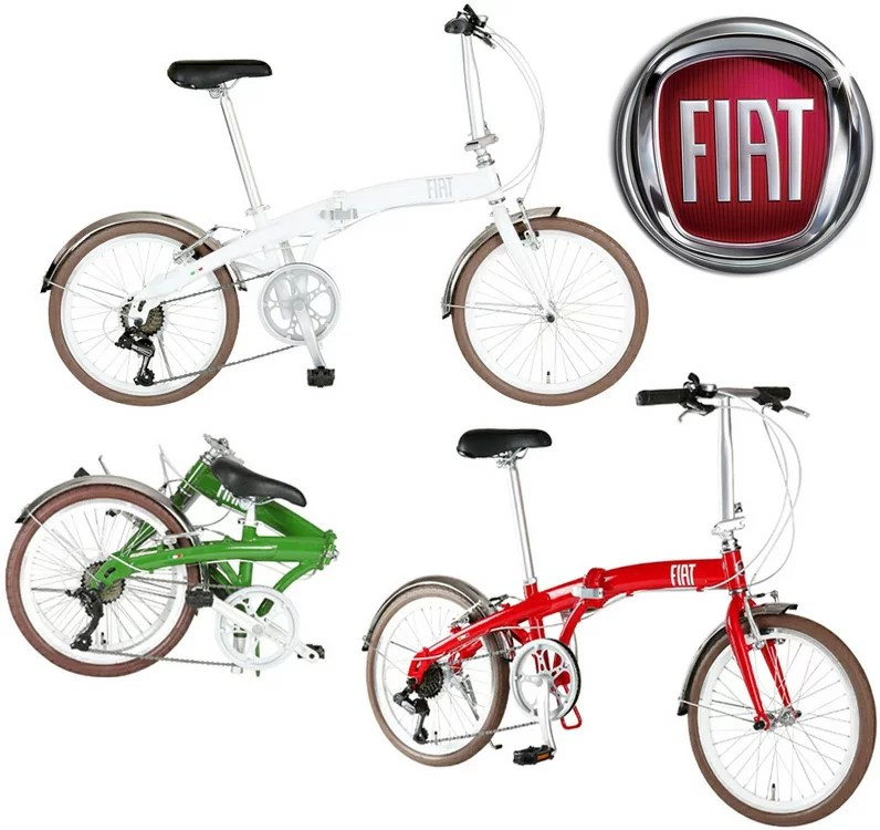 FIAT フィアット 軽量アルミフレーム8.5kgの持ち運び便利な14インチ自転車コンパクト折り畳み自転車レッド...