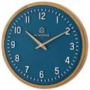 アカシアウッドフレームウォールクロック斬新なデザイン深みのあるネイビーの文字盤に白く浮き出た数字とインデックスアナログ 壁掛け時計お部屋の雰囲気を一品で一新ウッドブラウン ギフト 開業祝い 新築祝いなどに
