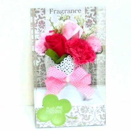 ソープフラワー バスフレグランスアレンジS(ピンク)クリアケース入り 石鹸の花束【おすすめ用途】母の