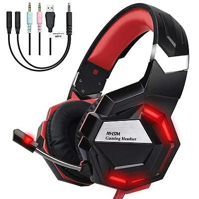 NHSM ゲーミングヘッドセット NH-1 ブラック×レッドPS4 PC Xbox One スマホ タブレットに対応【送料無料】NHGM-1-Red ヘッドホン 赤Playstation4 skype ※沖縄・北海道・九州・離島は送料別です