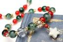 万能ストーン 水晶オーラクリスタル×ジェード キラキラ クリスマスカラー 当店オリジナルブレス_A1035