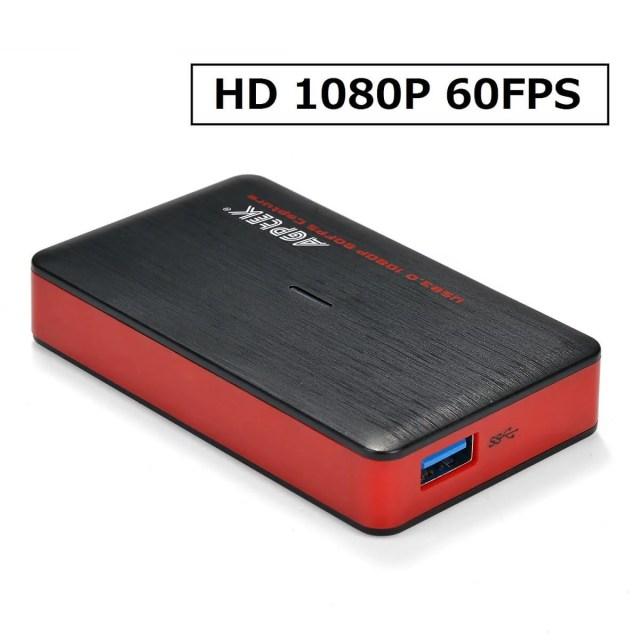 AGPTEK HDMIゲームキャプチャー ゲームレコーダー ビデオキャプチャー USB3.0接続 OTGアダプタ HD1080p/60fps ゲームライブストリーミングできる ゲームの録画/ライブ配信用 YouTube、Facebook、Twitterへのアップロードもできる