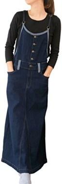 サロペット オールインワン ロング スカート マキシ丈 デニム ツイル オーバーオール 綿 レディース(ネイビー, 01.M)