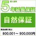 【対象商品のみ】個人5年延長保証(自然故障)商品金額 税込800,001円〜900,000円用(99990003-90)