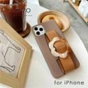 ベルト付きべっ甲調フラワーモチーフiPhoneケース(モカ)iPhone12 12Pro 12ProMax iPhone8 iP……
