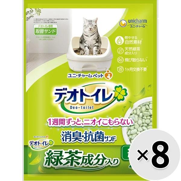 【ケース販売】1週間消臭・抗菌デオトイレ飛び散らない緑茶成分入り消臭サンド 4L