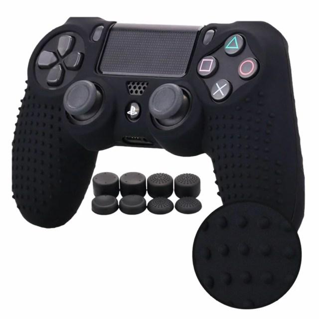 防御力1億カバー ブラック PS4 コントローラー用 ちりばめ シリコン スキン ケース 保護 BOUPLA-BK