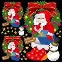 クリスマス サンタ(4) リース 看板・ボード用イラストシール (W285×H285mm) (販促POP/看板・ボード用デコレーションシール)