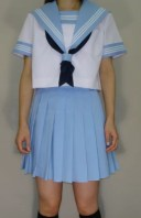 SH51衿・胸当て・袖カフス水色白3本線半袖セーラー服
