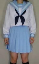 SN26夏長袖セーラー衿・カフス・胸当て水色