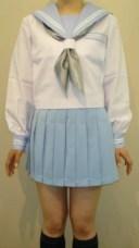SN03big夏 長袖セーラー服ビッグサイズ水色衿・カフス・ポケット白2本線