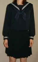 W01紺セーラー服衿・袖 白2本線
