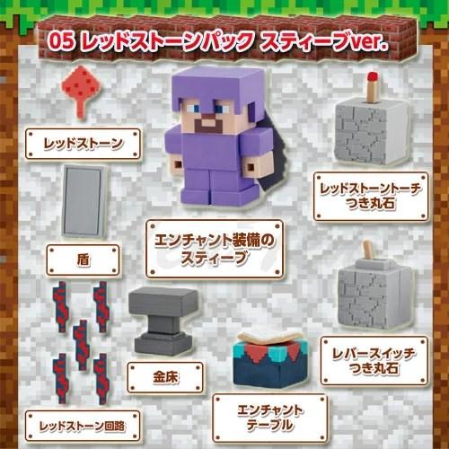 マインクラフト ケシゴム スターターセット05 レッドストーンパック スティーブver. 【即納品】 マイケシ Minecraft 消しゴム 文具