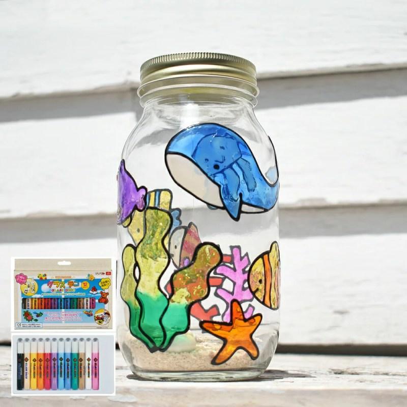 グラスデコ 12色セット ガラス絵具 ガラス絵の具 メール便送料無料 ステンドグラスペン ステンドグ
