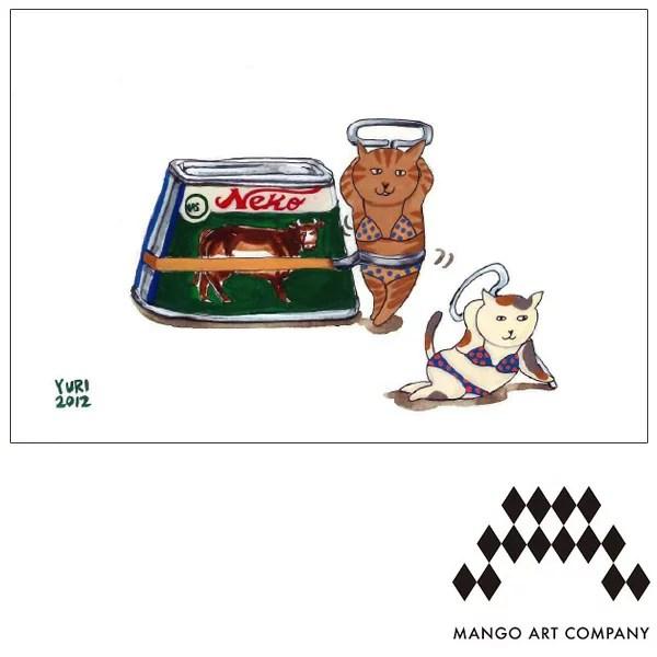 ポストカード 猫 MANGO ART COMPANY すぎはらゆり corned beef girl