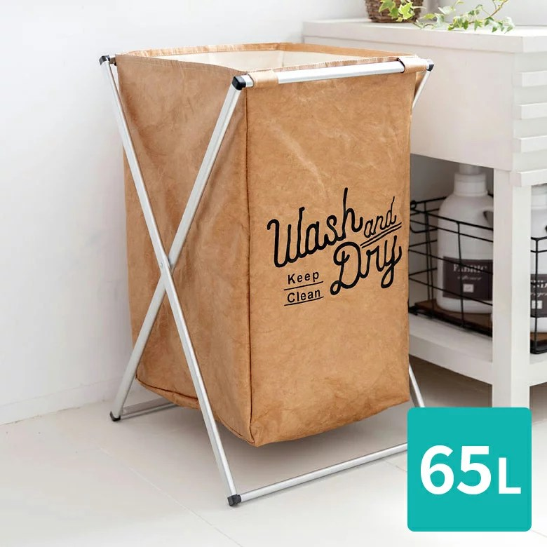 ランドリーバスケット 折りたたみ スリム 洗濯かご 大容量 約50L スクエア 持ち手付き [668