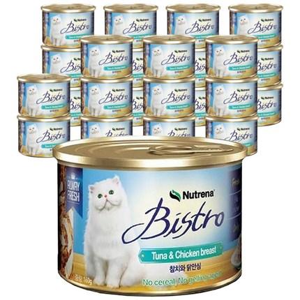 뉴트리나 참치와 닭안심 고양이용 비스트로 캔, 160g, 24개