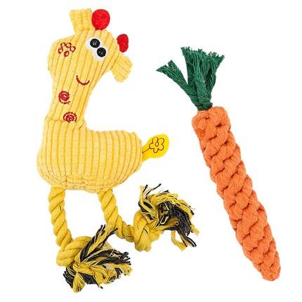 딩동펫 강아지장난감 기린 실타래인형 옐로우 + 당근실타래, 1세트