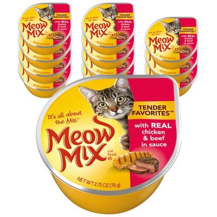 미유믹스 리얼 치킨과 비프 고양이 주식캔, 78g, 12개입