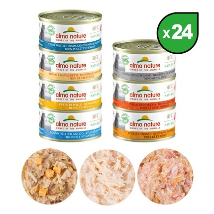 알모네이쳐 HFC 내츄럴 캣(7종) 70g x 24개/고양이습식사료, 24캔, 참치와 새우