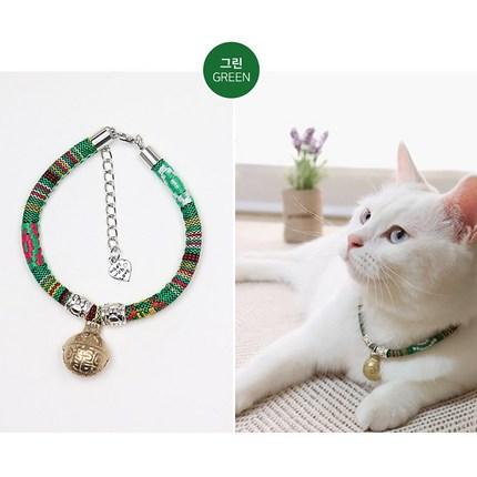 파인딩몰 고양이 핸드메이드 방울 목걸이 강아지 목줄 팬던트 인식표, 색상 그린