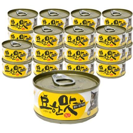 묘한맛 고양이캔 80g, 참치 + 닭가슴살 혼합맛, 24개입