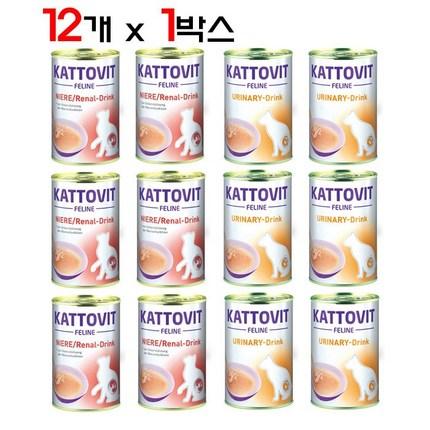 카토빗 캣 드링크 135ml 신장요로개선 12개 1박스 고양이캔, 유리너리