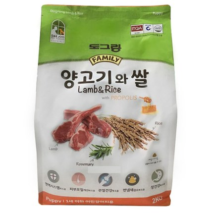 도그랑 퍼피 양고기와 쌀 훼미리 건식사료, 2kg, 1개