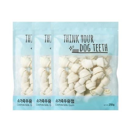 ThinkYourDogTeeth 소가죽 반려견 우유껌 18p 250g, 우유, 3개입