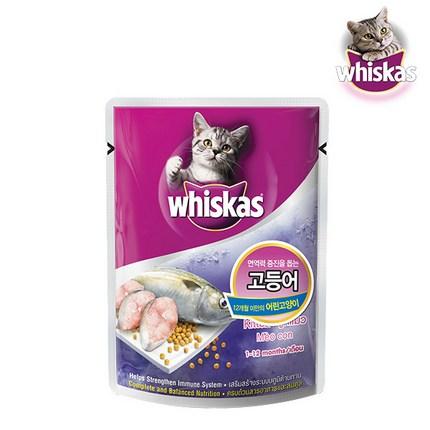 위스카스 고양이 습식사료 파우치 주니어 고등어, 85g, 12개