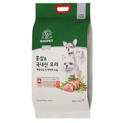 지니펫 더 홀리스틱 홍삼&국내산 오리 강아지사료, 5.2kg, 1개