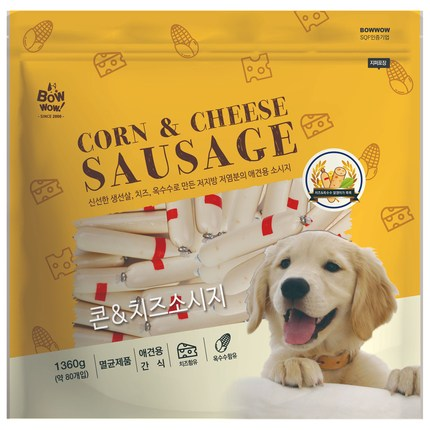 바우와우 강아지 소세지 간식 1.36kg, 콘 + 치즈 혼합맛, 1개