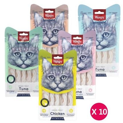 완피 크리미 퓨레 x 10개 고양이간식 고양이츄르, 참치새우x10개, 상세설명 참조