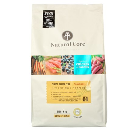 Natural Core 치킨&살몬 애견 사료 7kg, 1개, 7kg(500g*14봉)
