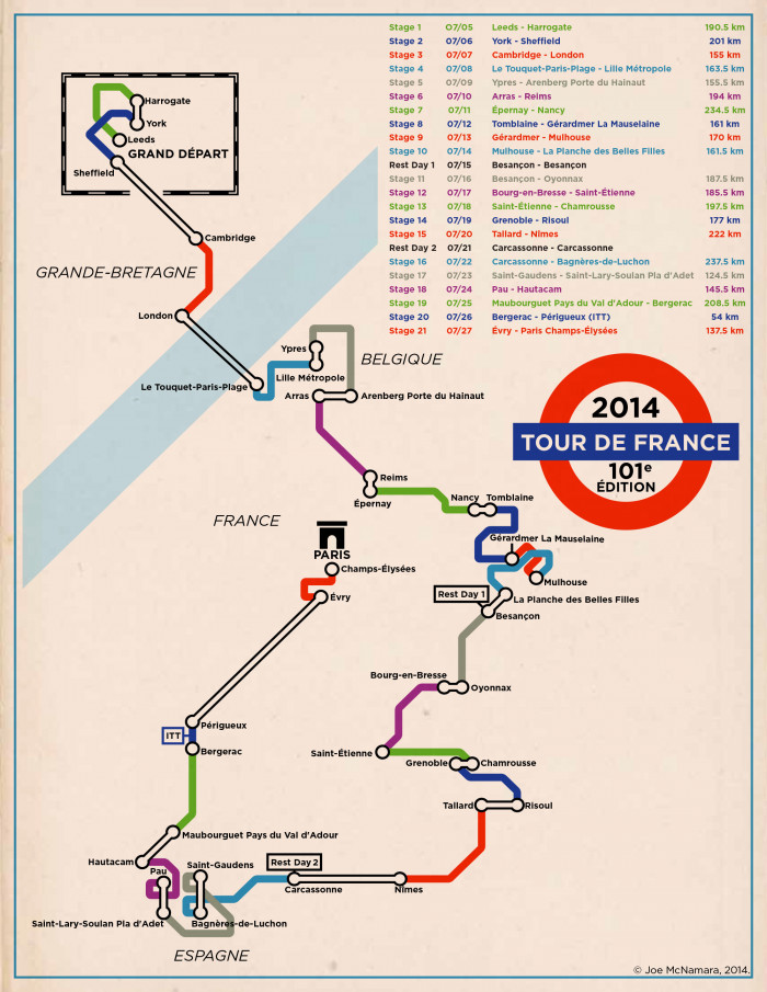 Tour de France Map 2014 Underground Style