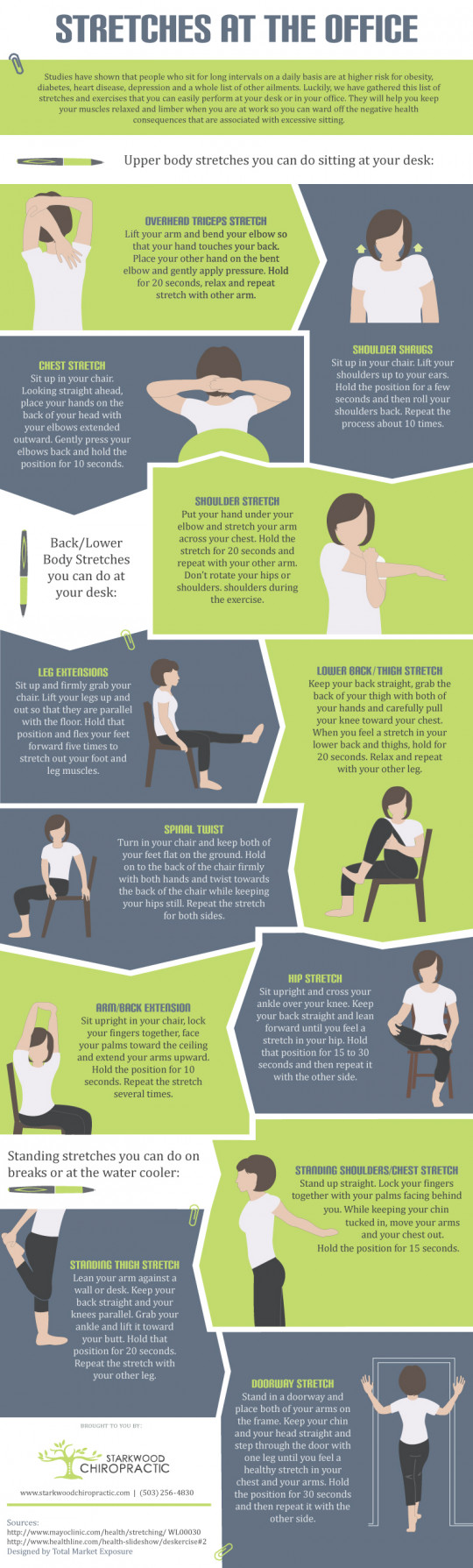 12 Stretch Exercises You Can Do At Your Desk Infographic