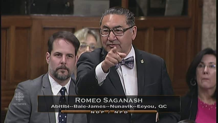 Image result for NDP MP Romeo Saganash stood in question period Wednesday afternoon, and speaking in his native Cree, asked Trudeau if he had consulted representatives of the Algonquin People or spoken to the Penoshway family, who were removed from the land now occupying Parliament Hill, before changing the name of Langevin block.